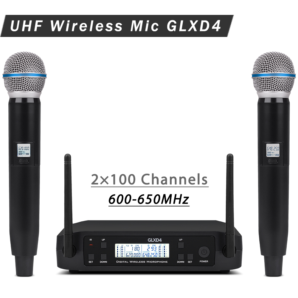 Adjustable frequency GLXD4 BETA58 UHF Wireless Microphone System with Handhled Bodypack Transmitter Mic for Stage Church