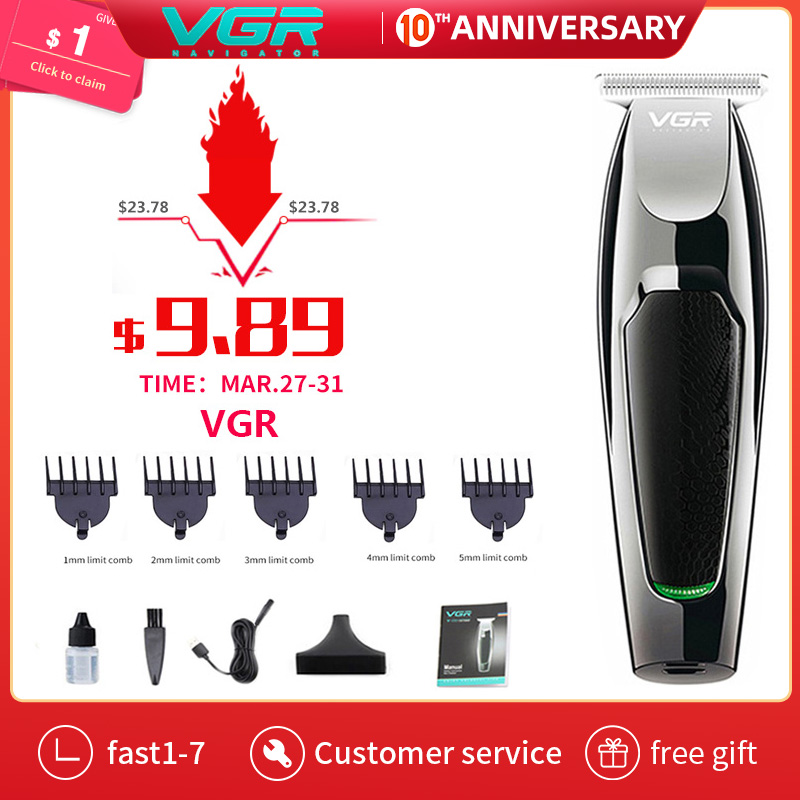 VGR Professional Waterproof Hair Trimmer Beard Trimer Body Face Hair Clipper Electric Hair Clippers Men Beard Men's Trimmer