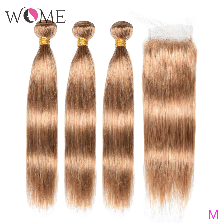 Wome #27 Peruvian Straight Hair With Closure Honey Blonde Color Human Hair Weave 3 Bundles With 4X4 Lace Closure Non-Remy Hair