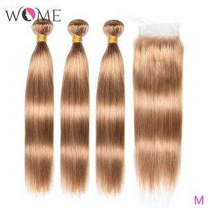 Wome #27 pelo liso peruano con cierre rubio miel Color cabello humano tejido 3 mechones con cierre de encaje 4X4 pelo no Remy