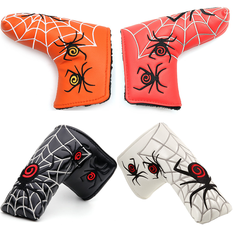 New Spider With Silver Web Golf Putter Cover Headcover For Blade Golf Putter Red White Black Head Cover