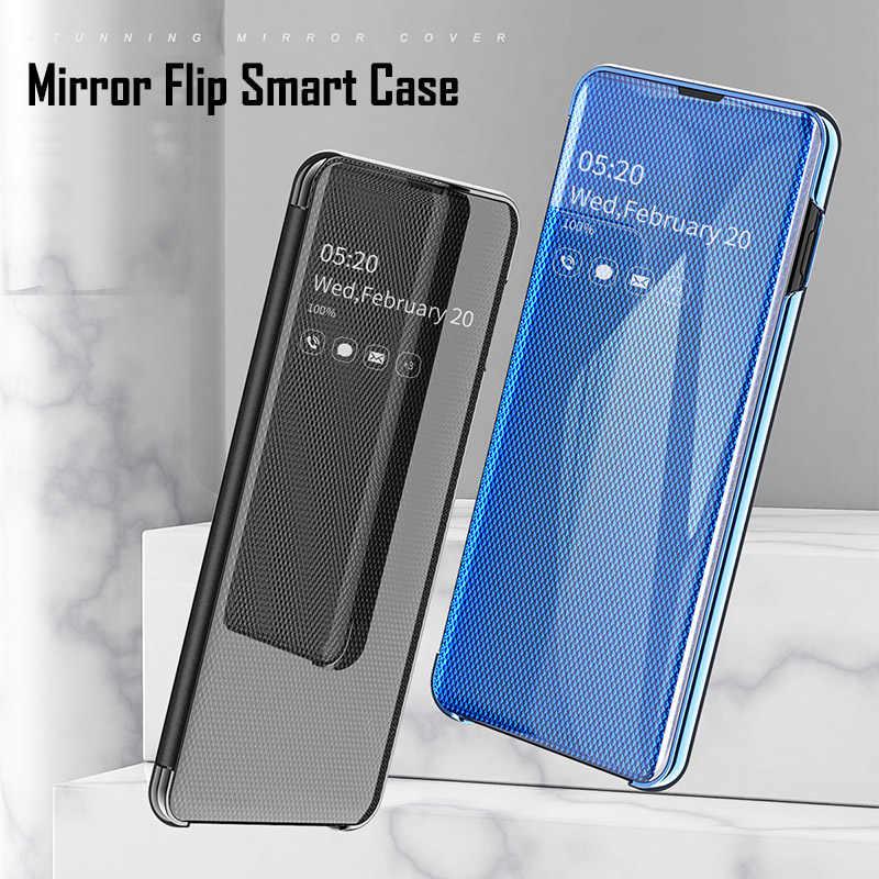 مرآة ذكية الوجه حقيبة لهاتف سامسونج غالاكسي نوت 10 S10 S8 s9 plus S7 حافة نوت 8 9 A10 A20e A40 A50 A30 A70 A750 الغلاف الأصلي
