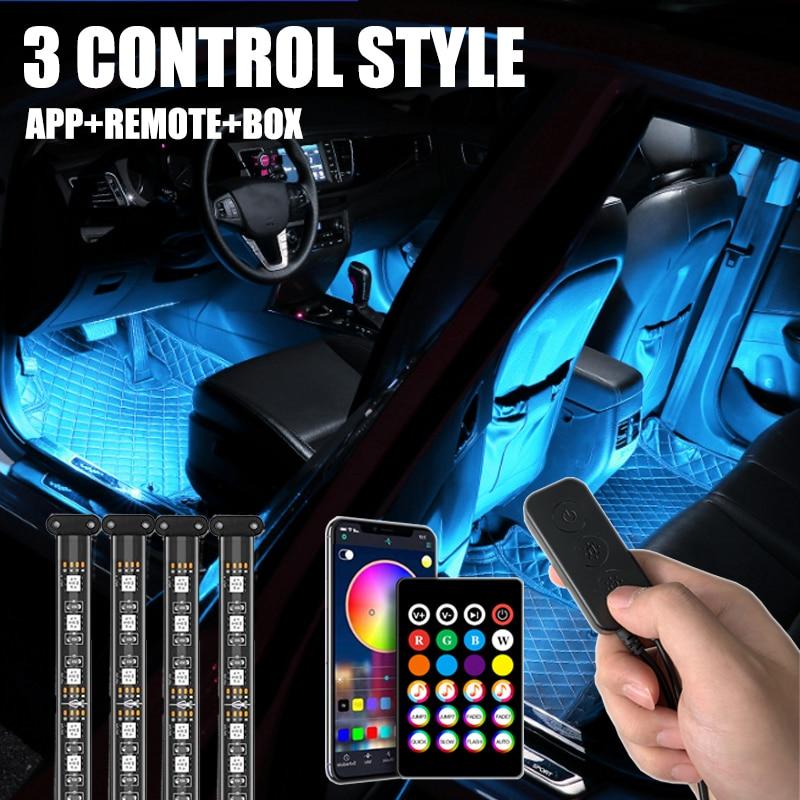 72 светодиодный фонарь для салона автомобиля, полоса, USB приложение, дистанционное управление, лампа для окружающей среды, несколько режимов ...