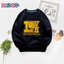 цена Boys Clothes Kids Clothing Cartoon Casual Sweatshirt Long Sleeve Letter Printing Love Basketball Child Sweatshirt Children Tops онлайн в 2017 году