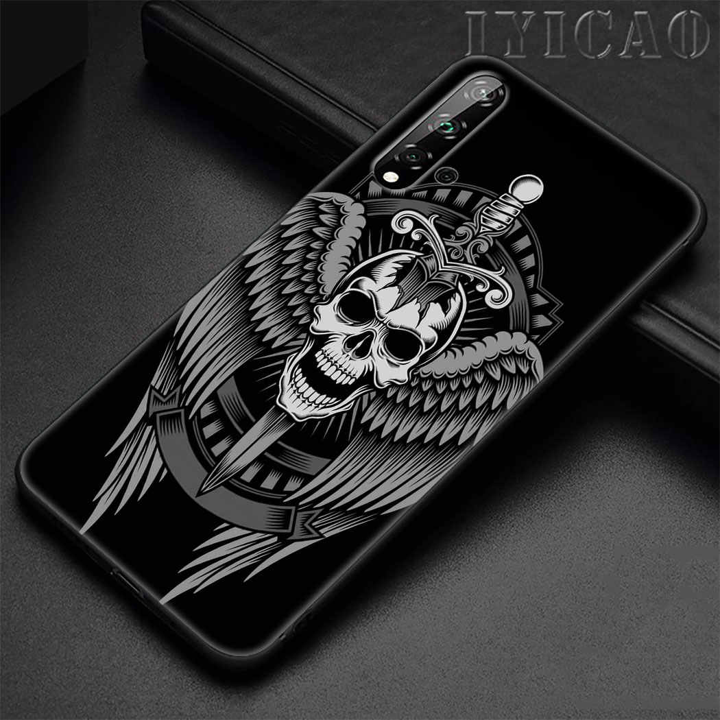 Black grim Reaper skull art Soft Silicone Case for Huawei Honor 9X 20 Pro 7A 7C 7X 8 9 10 Lite 8X 8C Note 10 View 20 TPU Cover