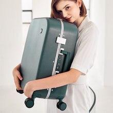 Maxi estetik tasarımcı bagaj alüminyum çerçeve kadın seyahat bavul PC sert kabuk tekerlekli çanta haddeleme tekerlekler TSA kilit