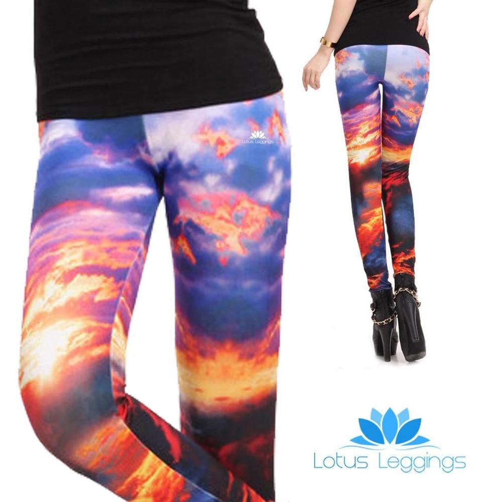 New Fashion Sporting Sunset Sky Pattern Digital Printing Polyester Leggings Autumn Summer Style Outdoor Leggings