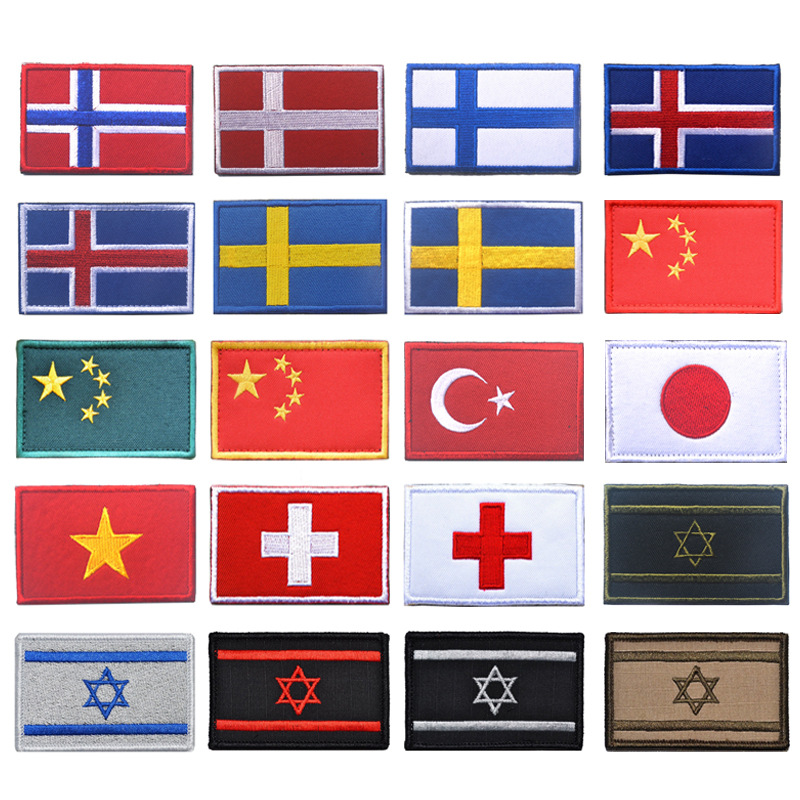 The United Kingdom France Germany Canada Italy Mexico America Cloth Sticker Velcro Shoulder Emblem Embroidered