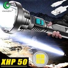 Nova xhp50 wick luz forte lanterna usb recarregável tático caça lanterna embutida bateria luz led lanterna