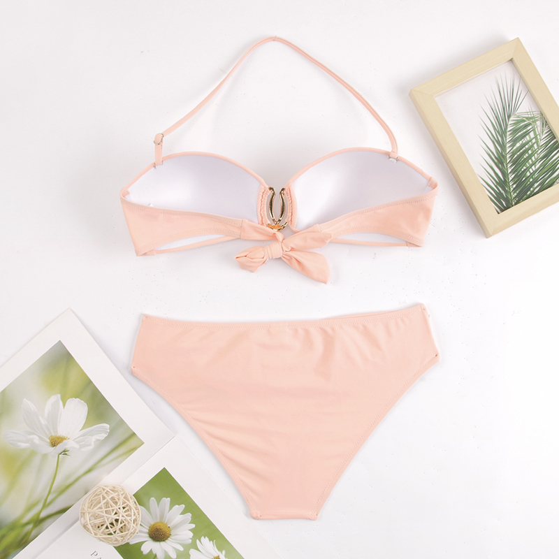 H1b1e8e5dac354a50a741c07bf27d7ce2y - Sexy Bikini Push Up Solid Swimsuit Female Bikinis String Bathing Suit Women Swimwear Bandaeu V Neck Biquini Bikini Set