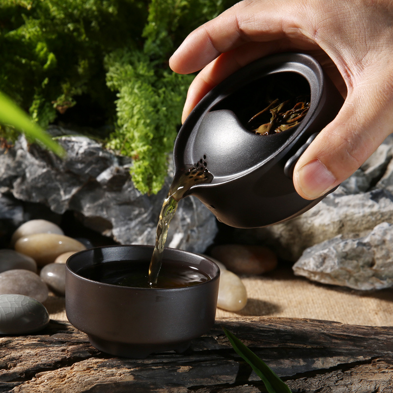 Portable Kung Fu Tea Set With Teapot And Tea Cup Drinkware Chinese Gaiwan Kettle Home Travel Teacup For Hiking Outdoor Camping