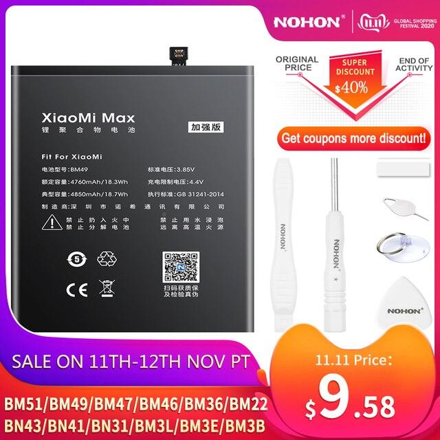 NOHON BM47 BM46 BN43 BN41 BN31 BM22 BM3L BM36 BM3E pil için Xiaomi CC9 Mix 3 2 Mi 5 8 9 SE Pro Lite 4C 5S Max 5X Redmi 4X 3X