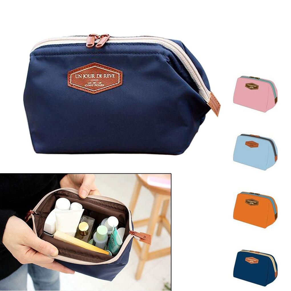 Zipper Design Womens Girls Travel Cosmetic Toiletry Makeup Bag Handbag Beauty Pouch 4 Color