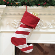 1 Piece Christmas Sock Red White Tree Decorations Childrens Gifts Elk Fireplace Pendant