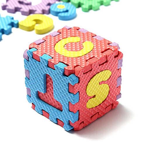 36 pz/set Bambino Dei Bambini Della Novità Alfabeto Numero EVA Puzzle di Schiuma Insegnamento Stuoie Giocattolo