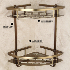 Image 3 - Mensola triangolare per doccia triangolare a due strati con cestello da bagno in bronzo antico, accessori da bagno in stile europeo in alluminio
