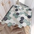Дверной коврик с зелеными листьями, нескользящий ковер с геометрическим узором, для удаления пыли, для дома, спальни, прихожей, улицы