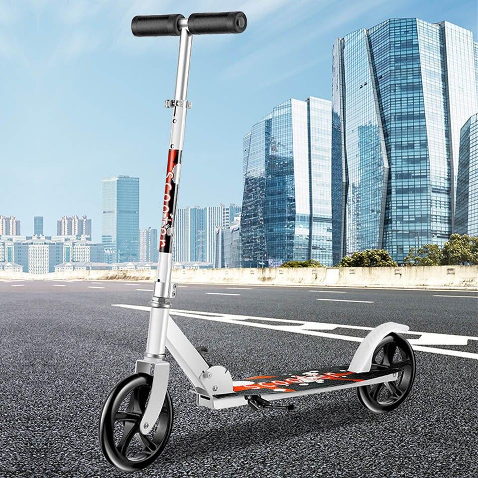 Mode pied Scooter pli Skate Cycle Hoverboard planche à roulettes 2 roues deux hauteur réglable adulte enfants coup de pied pliable roue 200mm