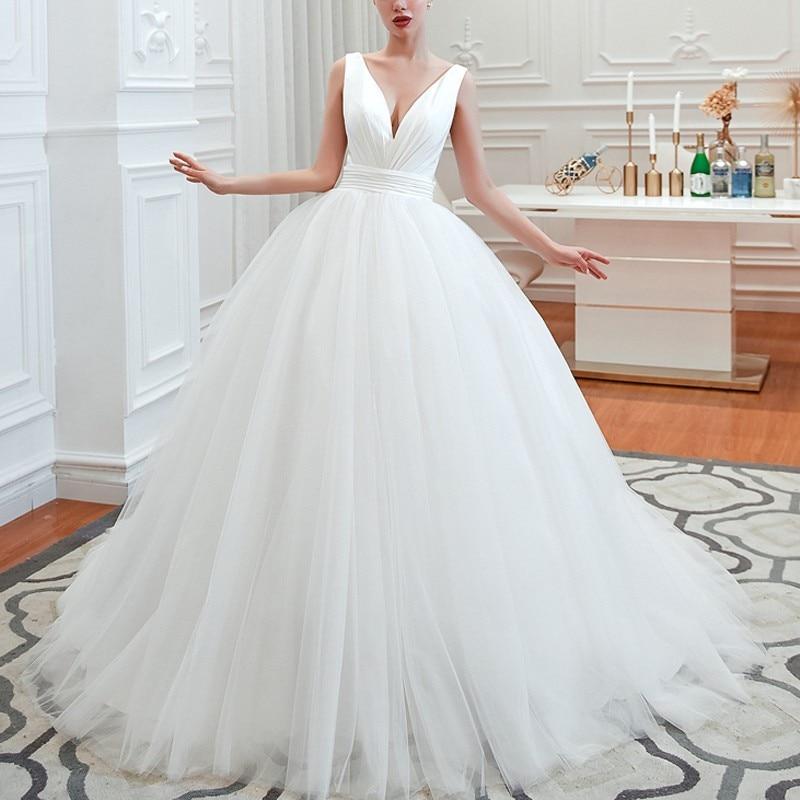 Eightale Ball Gown Wedding Dresses V-Neck Satin Top Tulle Skirt Wedding Gowns Vintage Custom Made Bride Dress Vestidos De Festa