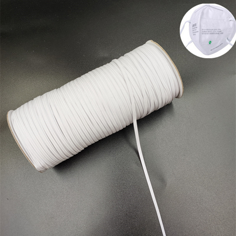 DIY Disposable Mask Material Protective Mask W 3mm Fold Over Elastic Band Sewing Elastic Ribbon Elastic Cord Bands 200Yards