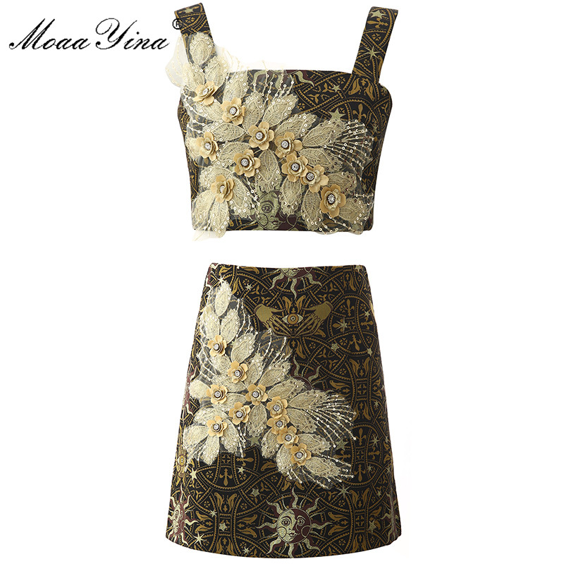 MoaaYina Fashion Designer Set Summer Women's Sexy Spaghetti Strap Applique Embroidery Crystal Sequin Tops+Skirt  Two-piece Suit