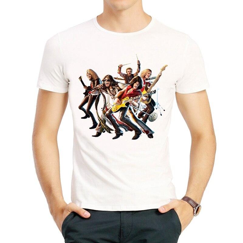Aerosmith T-Shirt White Color Mens Clothes Short Sleeve Aerosmith Logo T Shirt Tops Tees Tshirt Fashion Band Garments