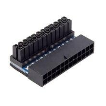 ATX Reemplazo de placa base de 24 pines hembra a macho, 90 grados, conector de alimentación del ordenador, adaptador de Cable Modular, accesorios EVA para el hogar