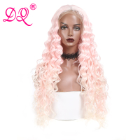 DQ Blonde Synthetic Lace Front Wig Ombre Wig Long Kinky Curly Wigs for Woman Cosplay Wig Synthetic Wigs Pink Wig Lace Wig 613