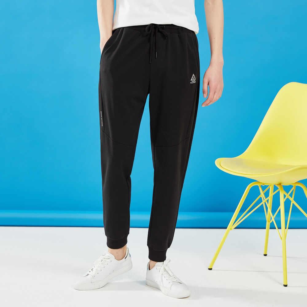 Metersbonwe homens bonito esporte calças primavera outono novos pequenos pés jogging calças de impressão moda esportes masculinos marca