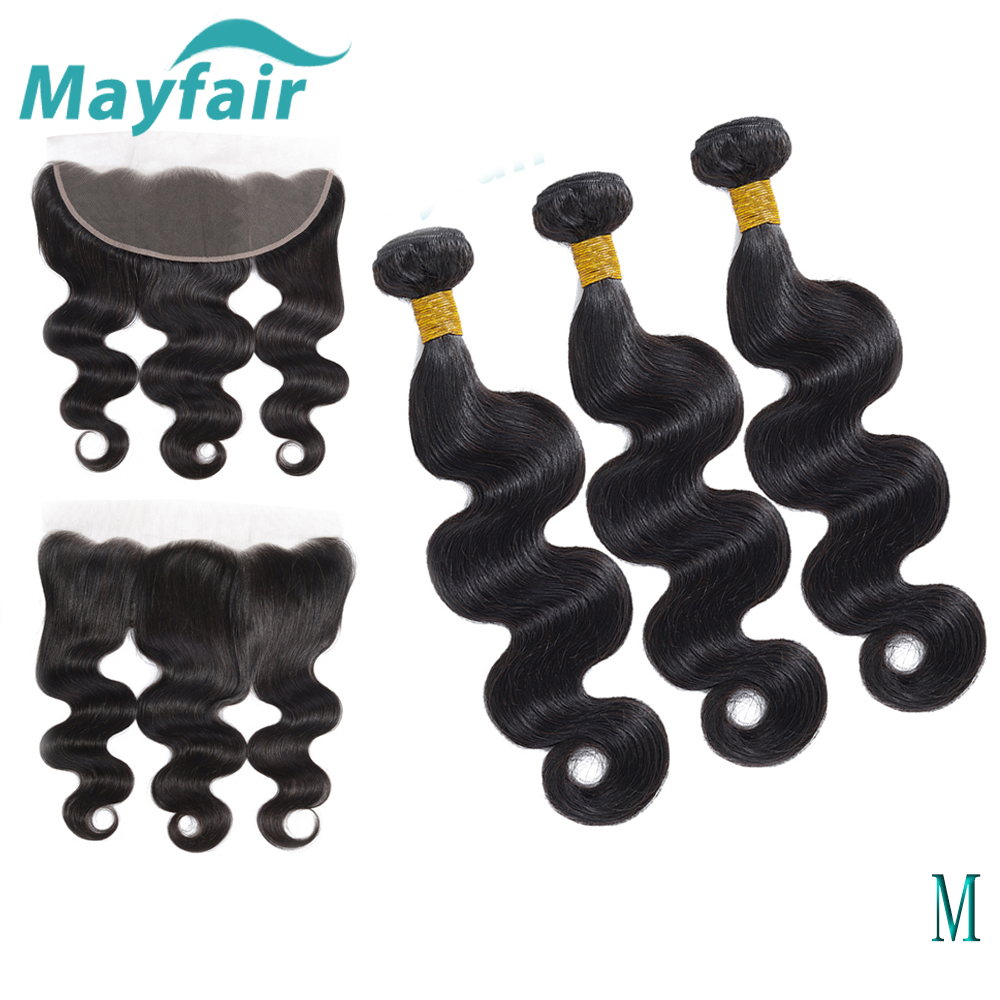 13x4 Frontal With Bundles Mayfair Brazilian Body Wave Bundles With Frontal Non-Remy Hair Weave Bundles With Frontal