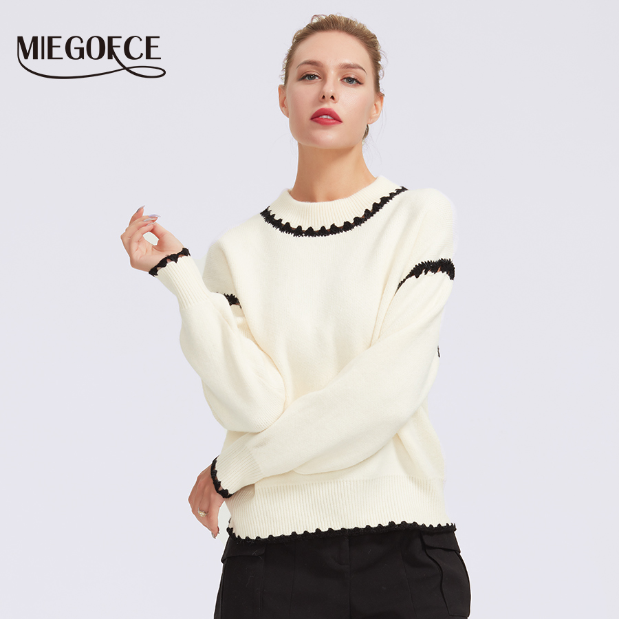 MIEGOFCE 2019 Round Neck For Women Casual Knitted Winter Loose-style Sweaters Jumper Women's Patchwork Pullovers Chic Blouses