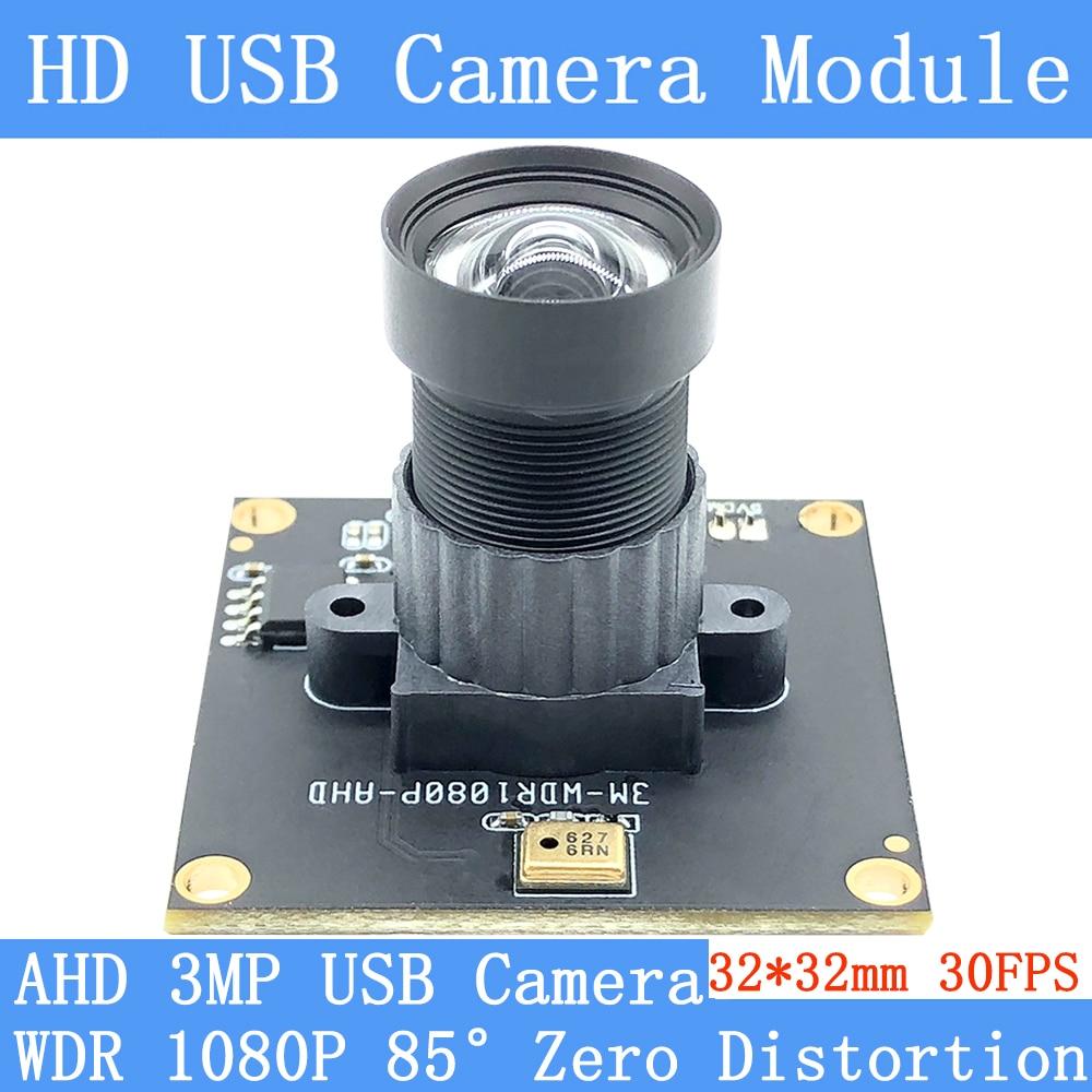 Plug Play Industry 1080P Full HD 95° Zero Distortion Webcam 3MP OTG UVC H264 Wide Dynamic 30FPS USB Camera Module Support Audio