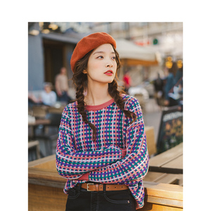 Image 4 - Inman primavera outono o pescoço manga gota ombro bonito colorido jovem menina jacquard xadrez feminino pulôver