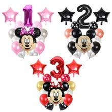 Mickey minnie cabeça estrela folha ballon 14 pçs/lote feliz aniversário decoração látex balões número do chuveiro do bebê balão de ar do miúdo globos