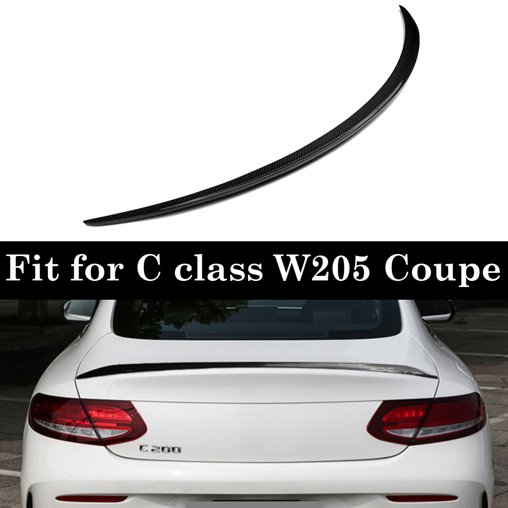 For <font><b>Mercedes</b></font> C Class W205 C200 <font><b>C300</b></font> C63 <font><b>Coupe</b></font> Carbon Fiber Rear Spoiler Wings image
