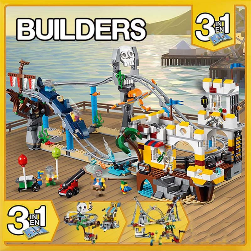 956pcs 3 in 1 Pirate Roller Coaster Minecraft Pirates Figures Building Blocks Children Education imagination Toys