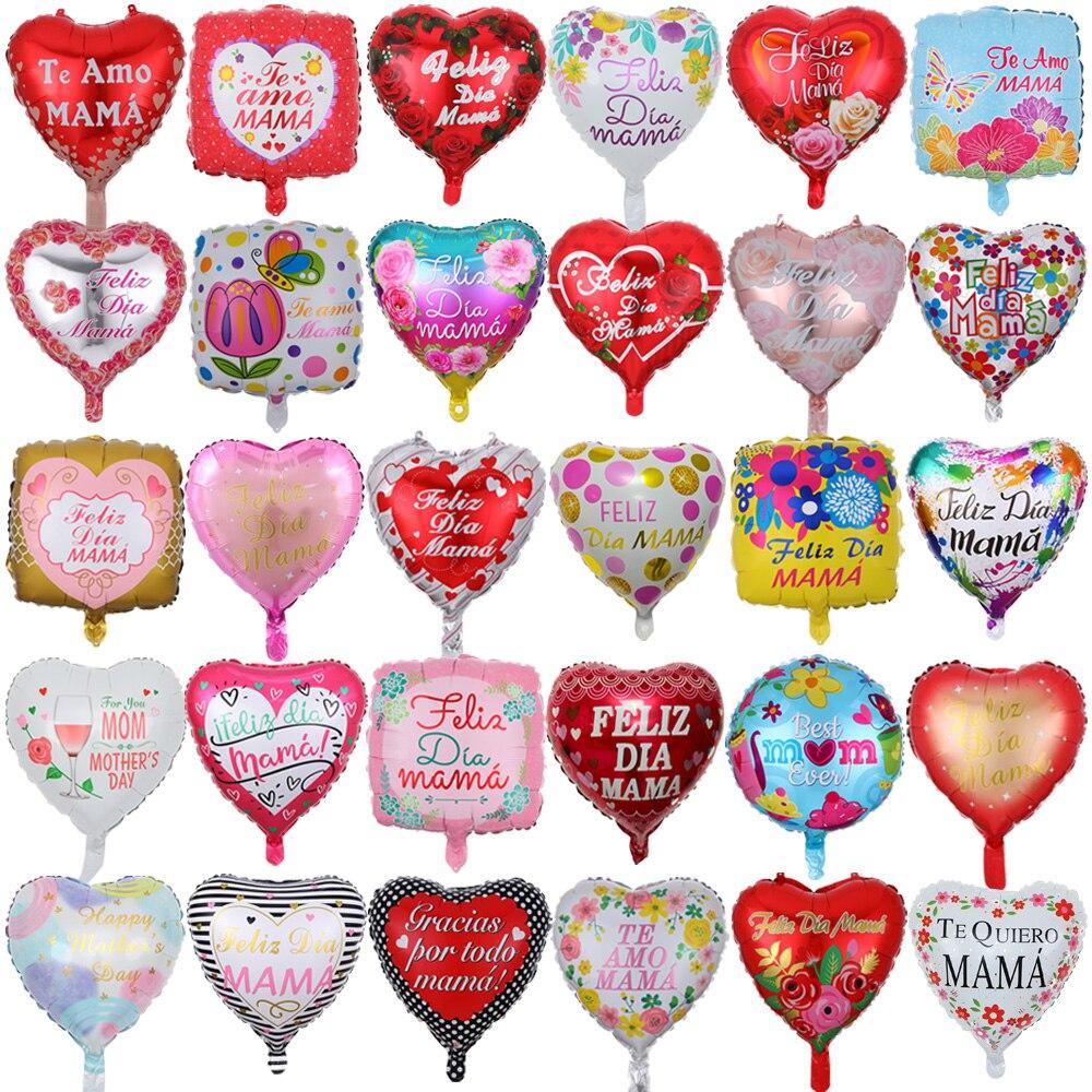 10 шт. 18-дюймовые воздушные шары из фольги с принтом испанской матери, подарок на день матери, сердце, гелиевые любовные глобусы, декор для мам...