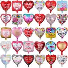 10 pçs 18 polegada impresso espanhol mãe foil balões dia da mãe forma do coração hélio amor globos decoração mama balão presentes balaos