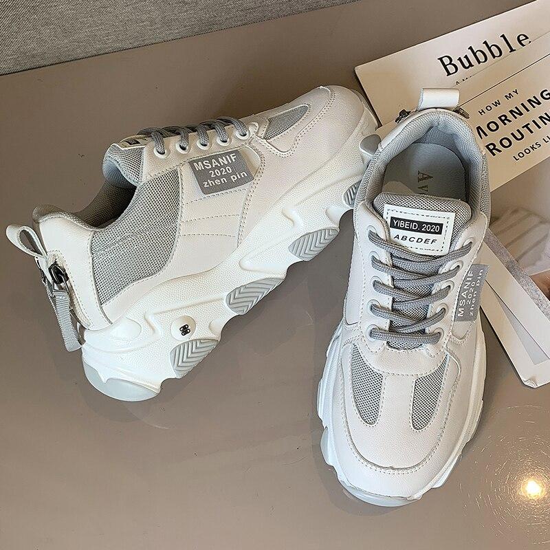 Shoes Women Platform Flats New Designer Breathable Mesh Casual Shoes Female Fashion Trainers Lace Up Leisure Women Vulcanized