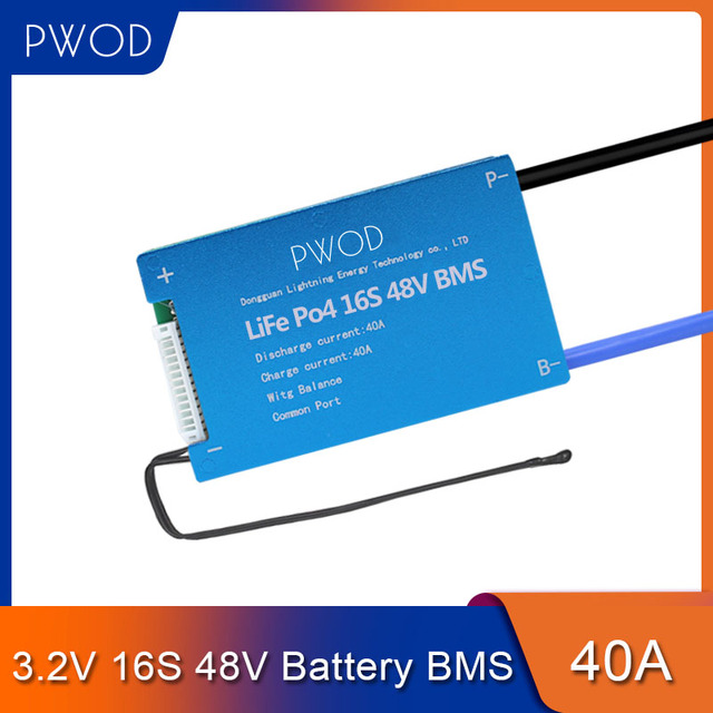 LiFePo4 placa inteligente de Sistema de Gestión de batería, 16S, 48V, BMS con Balance para paquete de batería, Scooter, no 15S, 48V