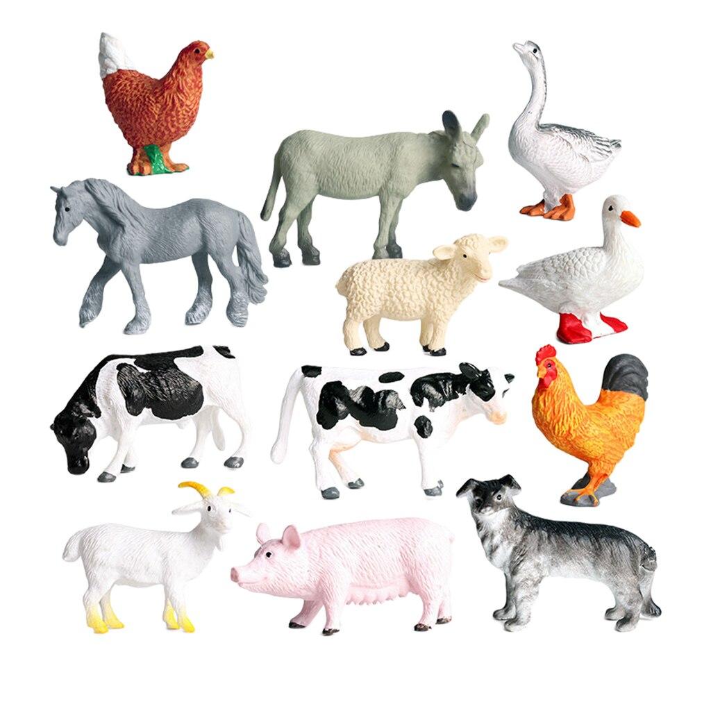Моделирование 12 шт. набор моделей животных из фермы корова утка гусь обучающая игрушка