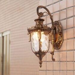 Styl europejski LED zewnętrzna ściana światło balkon ogród wodoodporna ściana lampa ogród willa klasyczne światło brąz archaize czarny