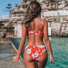 Red Floral Knotted Ruffled Bikini 2