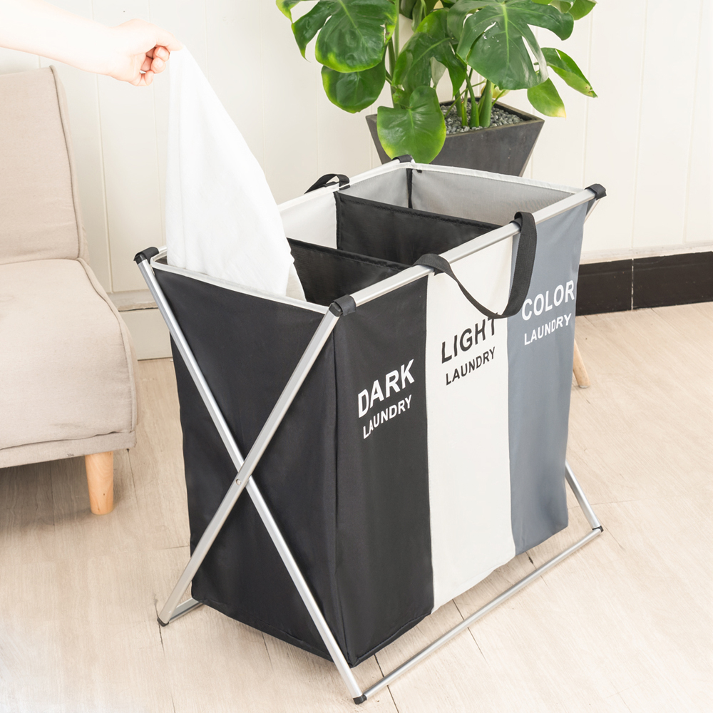 Image 3 - Shushi Foldable Dirty Laundry Basket Organizer Collapsible Three Grid Home Laundry Hamper Sorter Waterproof Laundry Basket Large-in Storage Baskets from Home & Garden