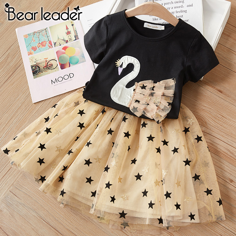 Bear Leader Kids Party Dress New Summer Kids Girls Princess Dress Cartoon Swan Mesh Outfits Girls Sequin Star Children Clothing