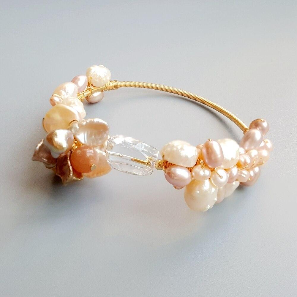 LiiJi véritable pierre de soleil Quartz clair perle d'eau douce Bracelet Unique bijoux faits à la main Bracelet ouvert pour les femmes cadeau livraison directe