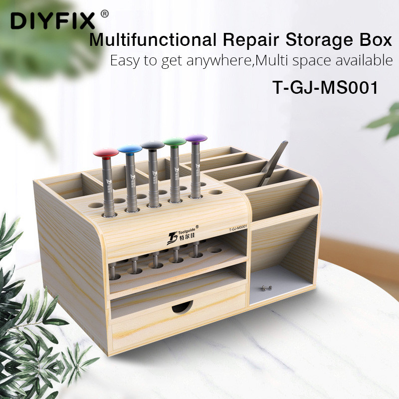 DIYFIX Multifunctional Wooden Storage Box Mobile Phone Repair Desktop Storage Screwdriver Tweezer Magnetic Holder Parts Box Tool