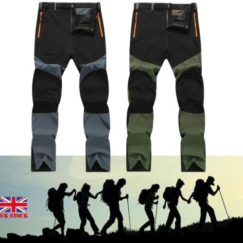 Men Soft Shell Outdoor Pants Waterproof Walking Hiking Trousers Breathable New Plus Size L-4XL