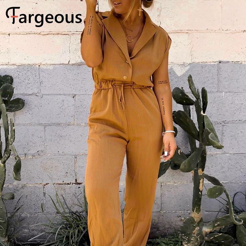 Fargeous Casual Holiday Short Sleeve Wide Leg Jumpsuit Women 2020 Summer Fashion V Neck High Waisy Drawstring Long Rompers