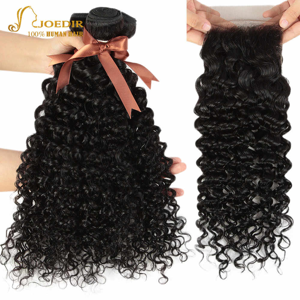 Joedir Water Wave Bundles With Closure Wet And Wavy Bundles With Closure 30 Inch Non Remy Brazilian Hair Bundles With Closure